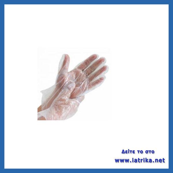 Γάντια νάιλον μ/χ (πακέτο 100τεμ),γάντια μιας χρήσης διαφανή